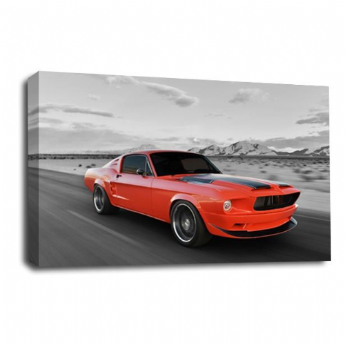 Mustang Car Wall Art Picture Red American Fast Sports Print